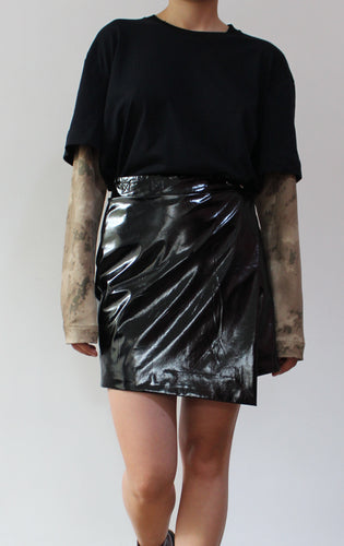 Patent Leather Mini Skirt - krawaii.com