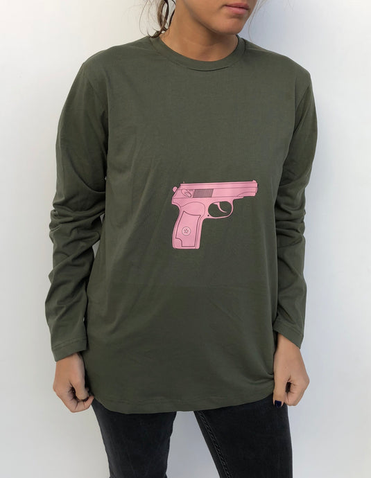 khaki long sleeve tshirt with gun print - krawaii.com