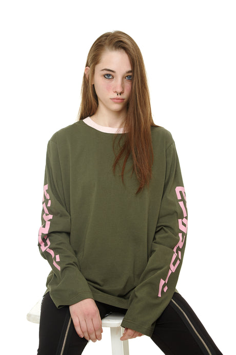 Khaki Long Sleeve Tshirt With Pink Prints - krawaii.com