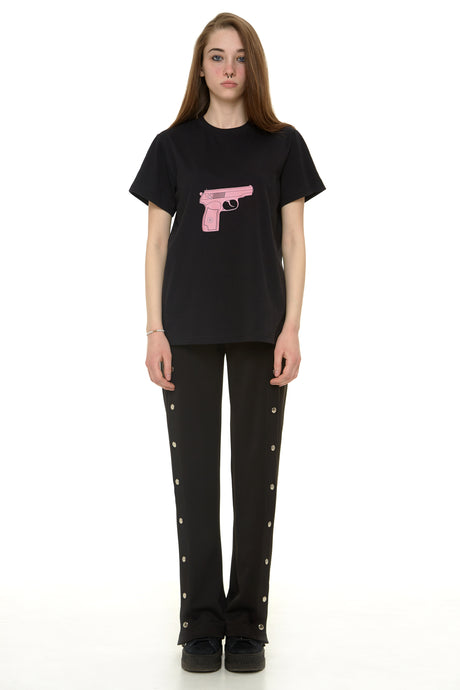 Black Cotton T-shirt with Pink gun print - krawaii.com