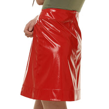 Red Patent-leather Skirt - krawaii.com