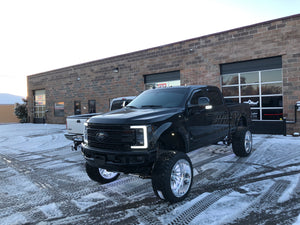 2019 F-250 with custom wheels, BDS Suspension Lift, Custom Headlights, Custom Color matched paint, color matched mirrors, smoked tail lights, american force wheels, fury tires, switchback daytime running light, LED headlights, and rock lights