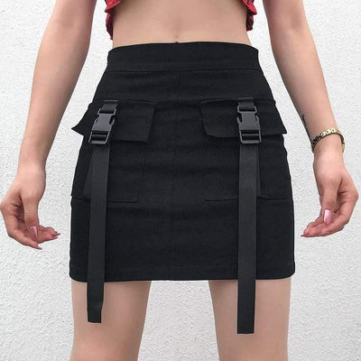 Woman's Skirts Buckle Mini Skirt at $29.00