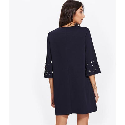 BASSO Pearl Beading Tunic Dress