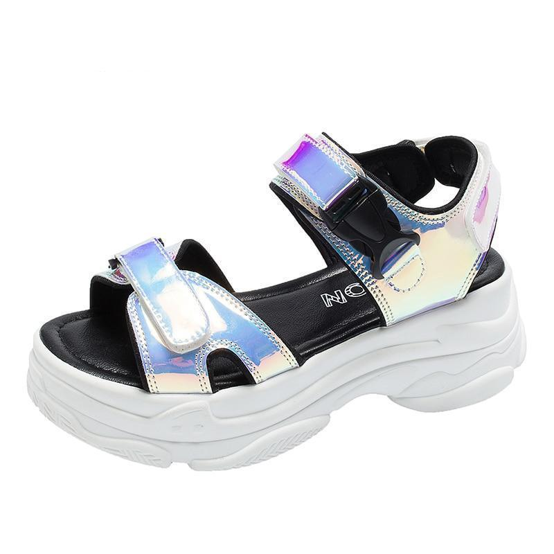 Woman's Platform Sandals Reflecto High Sandals at $45.00