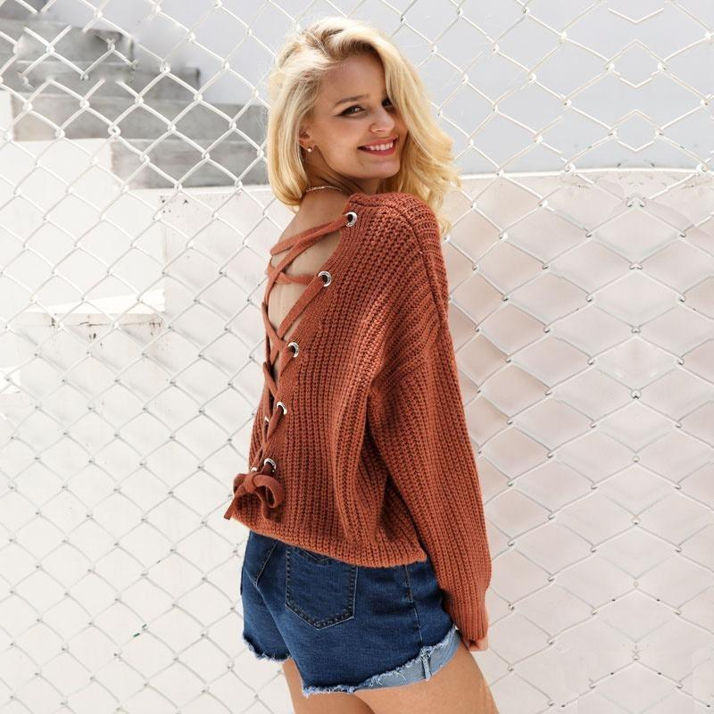 Woman's Fancy Sweater Sexy Backless Sweater at $40.00