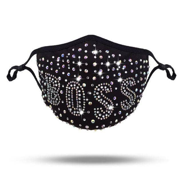 Woman's Face Mask Boss Rhinestone Face Mask at $24.99