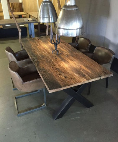 recycled dining table industrial trend reclaimed bridge timber solid wood furniture trend