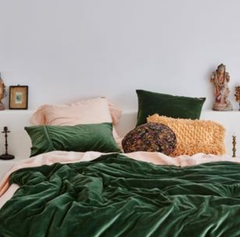 Kombu Kip & Co velvet emerald green duvet cover bedding pantone greenery colour of the year