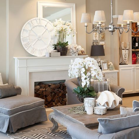 hamptons clock mirror piped sofa vavoom trends interiors