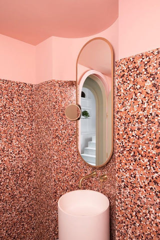 interior design bathroom mosaic terrazzo coral trend vavoom inspiration blog