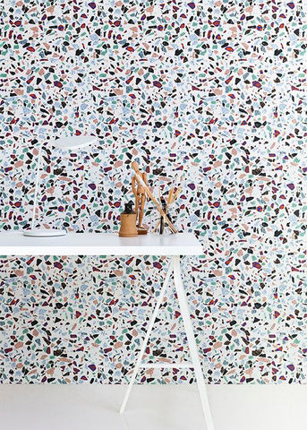 terrazzo wall covering wallpaper interiors trend office desk vavoom blog inspiration