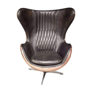 Egg Chair Accent Chairs.Aviator Leather Real Copper Admiral Accent Chair