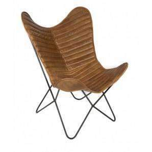 Accent Or Occasional Chairs Chrysler Ribbed Accent Butterfly Chair - Leather
