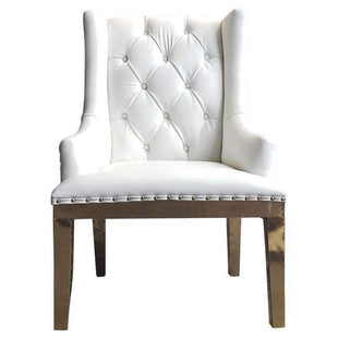 The Empire White Leather And Polished Brass Accent Chair