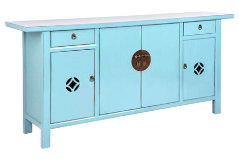 Accent Tables Hand Crafted Blue Console Table
