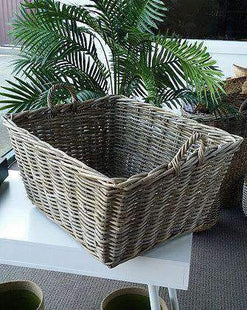 Baskets Rattan Rectangle Kubu Grey Utility Basket