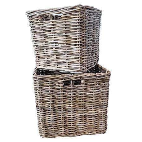 Baskets Set of 2 Kubu Grey Rattan Jumbo Storage Baskets
