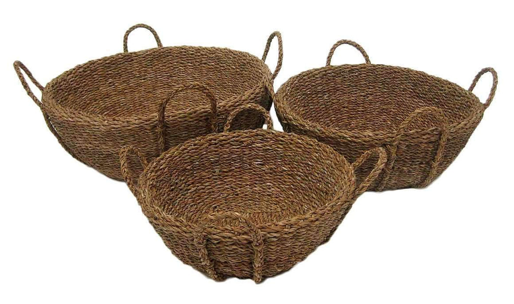 Baskets Set of 3 Large Round Seagrass Deck Baskets