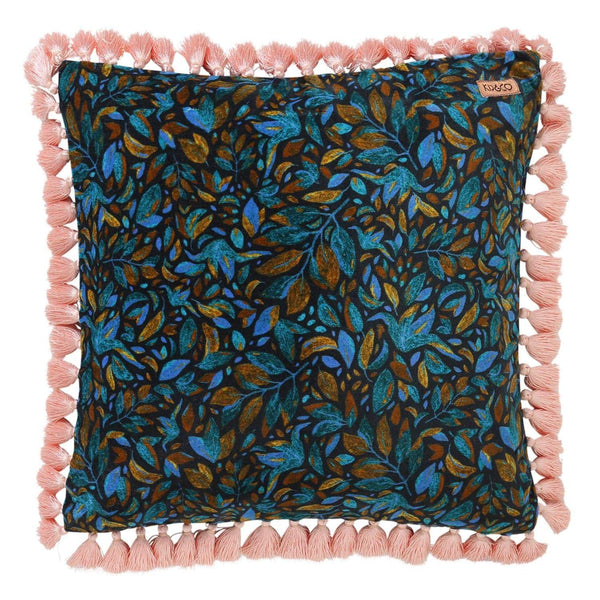 Fine Kip Co Falling Leaves Velvet Tassel Cushion Cover Caraccident5 Cool Chair Designs And Ideas Caraccident5Info