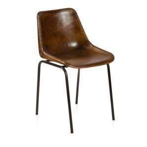 Aged Leather Dining Chair-Brown--VAVOOM