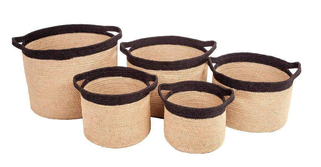 Household Storage Containers Set of 5 Jute Natural Round Storage Cylinders With Black Border