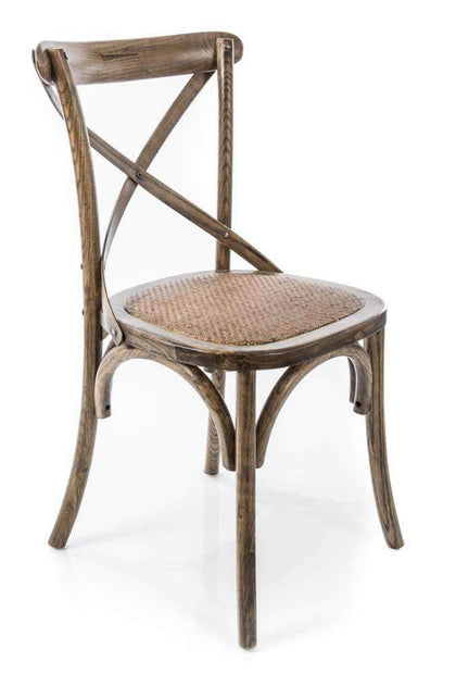 Kitchen & Dining Room Chairs X Back Chair With Solid Rattan Seat-Elm Wood