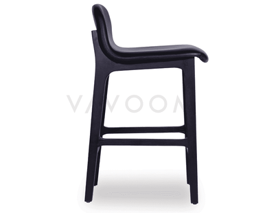 New Max Scandinavian Timber Bar Stool - Black American Ash Frame & Luxurious Black Padded Seat