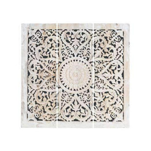 New Temple Carved Panel - Large 182X182CM (In 3 Panels) White Wash