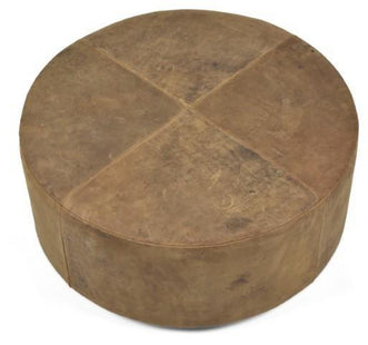 Ottomans Napa Leather Round Ottoman Tan