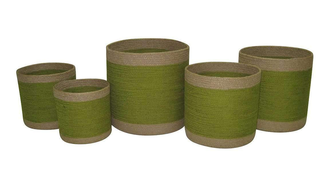 Pots & Planters Set of 5 Jute Green Round Planters With Natural Border