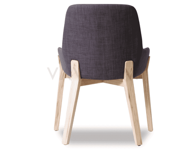 Avery Dining Chair - Natural Ash Frame / Charcoal Padded Seat--VAVOOM