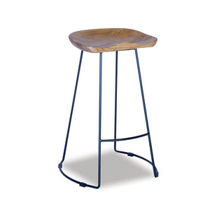 Shop By Room Tina Timber Kitchen Stool - Black Frame / Solid American Ash Seat