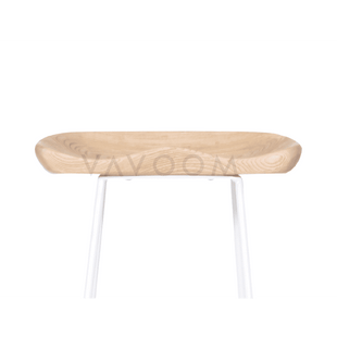 Shop By Room Tina Timber Kitchen Stool - White Frame / Solid American Ash Seat