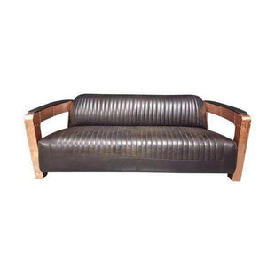 Aviator Falcon Real Copper + Leather 3 Seat Sofa--VAVOOM