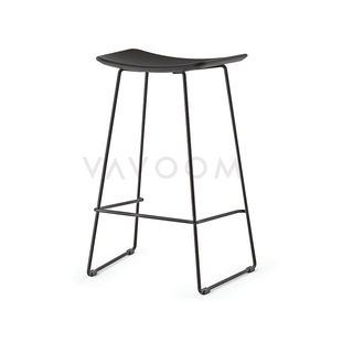 Stools and Bar Stools 66cm (Kitchen Bench Height) Winona Matte Black Stool With Italian Black Leather Seat