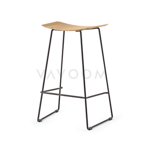 Stools and Bar Stools 66cm (Kitchen Bench Height) Winona Matte Black Stool With Solid European Oak Seat