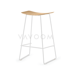 Stools and Bar Stools 66cm (Kitchen Bench Height) Winona Matte White Stool With Solid European Oak Seat
