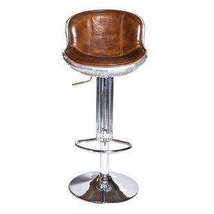 Aviator Aluminium and Brown Leather Bar Stool 2--VAVOOM