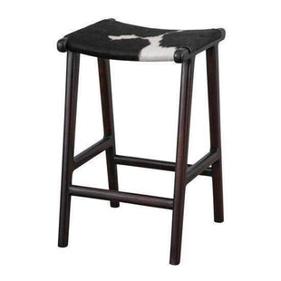 Stools and Bar Stools Black & White Malta Cowhide Kitchen Stool - Glamour