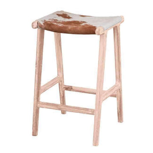 Stools and Bar Stools Brown & White Malta Cowhide Kitchen Stool - Glamour