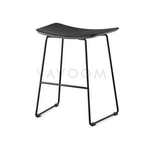 Stools and Bar Stools Winona Low Stool Matte Black With Black Leather Seat