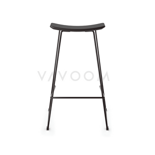 Stools and Bar Stools Winona Matte Black Stool With Italian Black Leather Seat