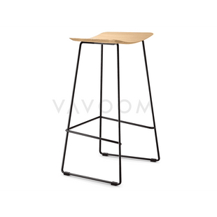 Stools and Bar Stools Winona Matte Black Stool With Solid European Oak Seat