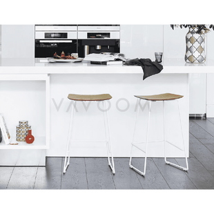Stools and Bar Stools Winona Matte White Stool With Solid European Oak Seat