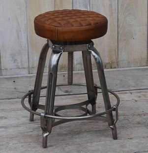 Table & Bar Stools De Matteo Leather Industrial Bar Stool