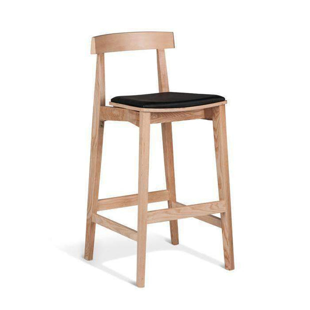 Table & Bar Stools Izumi Stool 750MM Natural Frame - With Black Cushion Seat
