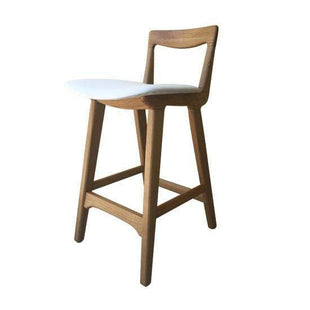 Table & Bar Stools Kitchen Seat Height 66cm / White PU Scandic Oak Frame Stool