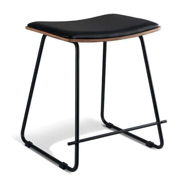 Table & Bar Stools Monroe Stool 450MM Black Frame - Natural Veneer With Black Cushion Seat
