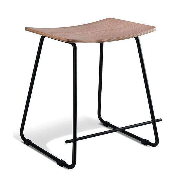Table & Bar Stools Monroe Stool 450MM Black Frame - With Natural Veneer Seat